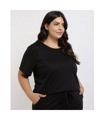 pijama feminino plus size em moletinho blusa manga curta preto