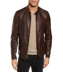 men's schott nyc cafe racer unlined cowhide leather jacket, size x-small - brown