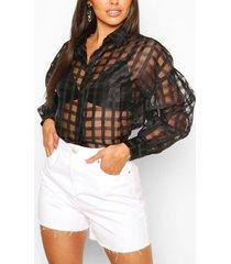 petite organza mesh flannel shirt, black