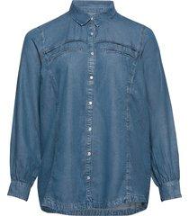 denim shirt tencel plus long sleeves collar långärmad skjorta blå zizzi