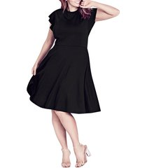 plus size women's city chic frill sleeve fit & flare dress, size large - black