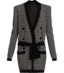 jacquard wool-blend belted monogram cardigan
