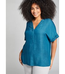 lane bryant women's mixed-media popover top 26/28 lyons blue