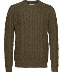 pigalle cable knit gebreide trui met ronde kraag groen les deux