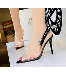 mujer taco sandalias zapatos de tacon con nudo ojal-negro
