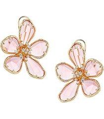 georgia pink & white cubic zirconia flower earrings