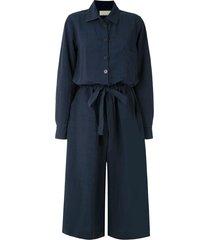 le soleil d'ete audrey tie waist jumpsuit - blue