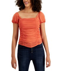 crave fame juniors' ruched mesh cap-sleeve top