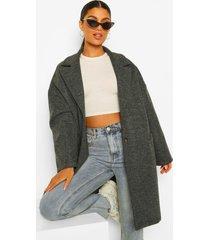 getailleerde nepwollen jas, charcoal
