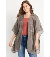 maurices womens olive embroidered side slit kimono blue