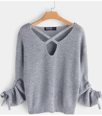 grey lace-up design criss-cross v-neck long sleeves sweater