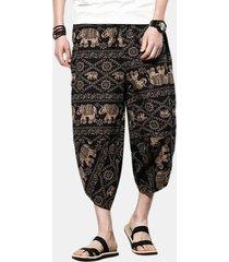 pantaloni larghi in cotone stampa fantasia