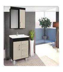 conjunto banheiro 60cm nero e nude lilies móveis