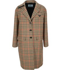 prada houndstooth single-breasted coat