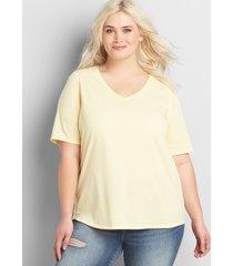 lane bryant women's perfect sleeve v-neck tee 14/16 canary diamond