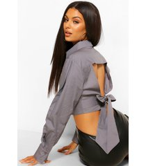 cotton poplin open tie back shirt, charcoal