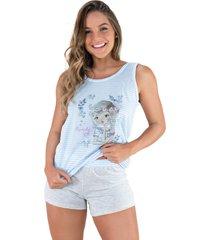 pijama mvb modas adulto estampado shortdoll cinza azul