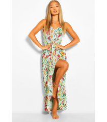 floral ruffle asymmetric hem maxi dress, mint