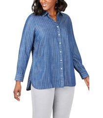 plus size women's foxcroft brycen in stitch stripe tencel lyocell shirt, size 18w - blue