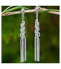 sterling silver waterfall earrings, 'helix fringe' (thailand)
