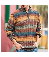 men's 100% alpaca sweater, 'voyager' (peru)