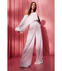 satijnen cullotte jumpsuit met ballonmouwen, white