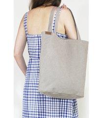 shopper bag xl beżowa torba z grubej bawełny