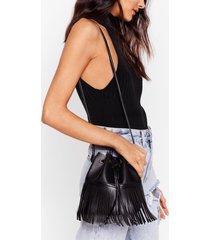 womens want fringe on it bucket bag - black