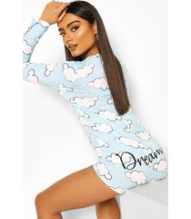 dreamy cloud long sleeve pyjama romper, blue