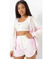 roze tie dye sweat shorts, pink