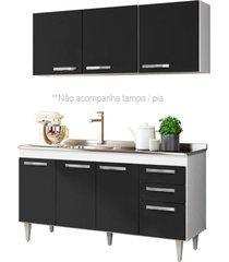 armário aéreo parma e balcão gabinete de pia lisboa 150cm branco/preto - lumil móveis