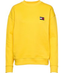 tjw tommy badge crew sweat-shirt trui geel tommy jeans