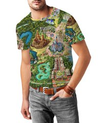 disneyland colorful map mens cotton blend t-shirt