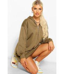 oversized sweatshirt jurk met rits en capuchon, olijf