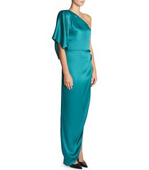 one-shoulder draped silk gown