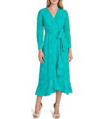 women's tahari chiffon clip long sleeve faux wrap maxi dress, size 6 - green