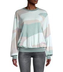 saks fifth avenue women's camo dropped-shoulder sweatshirt - exploded camo - size xs