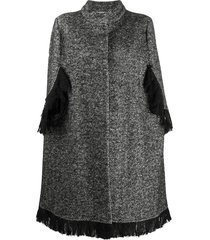 charlott single-breasted cape coat - black