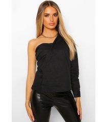 asymetrische blouse met blote schouder, black