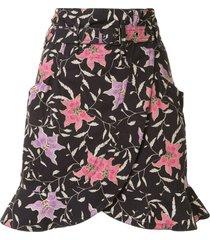 isabel marant belted floral mini skirt - black