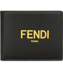 fendi logo-print folding wallet - black