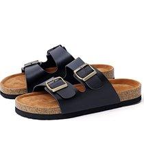 black casual metalic buckle slippers