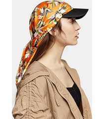 orange floral print scarf cap - orange