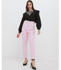 motivi pantaloni paper bag con cintura donna rosa
