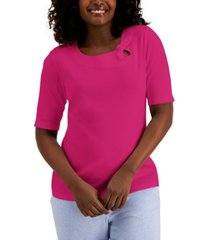 karen scott petite cotton tie-neck top, created for macy's