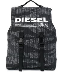 diesel striped camo denim buckled backpack - black
