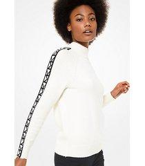 mk pullover dolcevita con finitura con logo - bianco (bianco) - michael kors