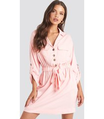 na-kd belted cargo pockets mini dress - pink