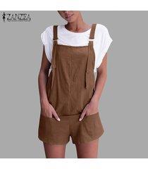 zanzea mujeres más holgados sin mangas sólidas monos pantalones mameluco mini hot shorts -café
