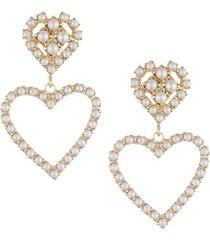 10k goldplated, stainless steel & faux pearl heart earrings